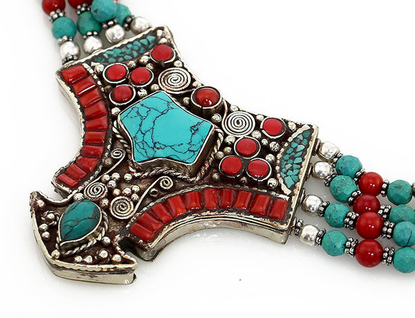 Silver Tibetan Necklace with Turquoise and Coral Inlaid Pendant Close Up