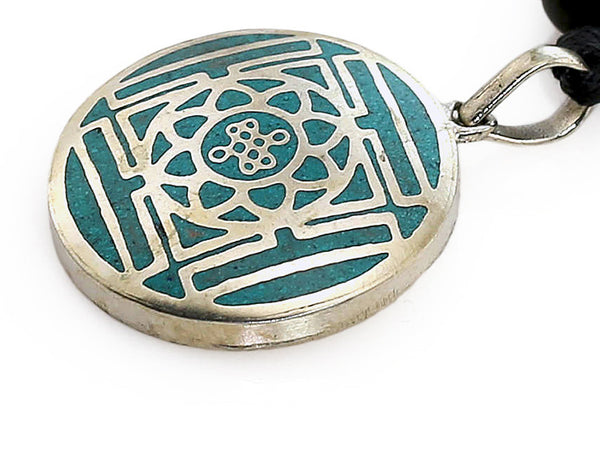 Silver Tibetan Pendant Turquoise Mandala and Endless Knot Side View