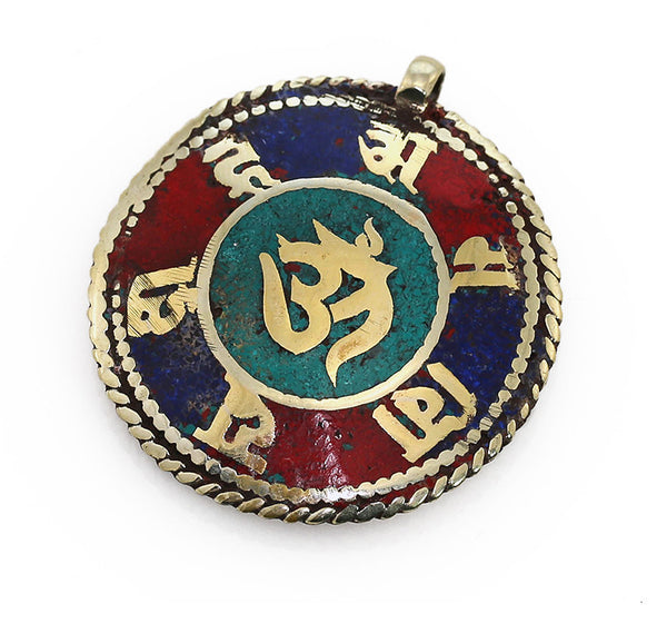 Silver Tibetan Pendant with Crushed Gemstone Inlaid Mantra and Om Symbol