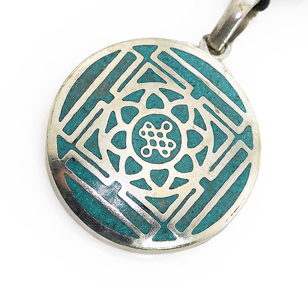 Silver Tibetan Pendant with Turquoise Endless Knot and Mandala Design