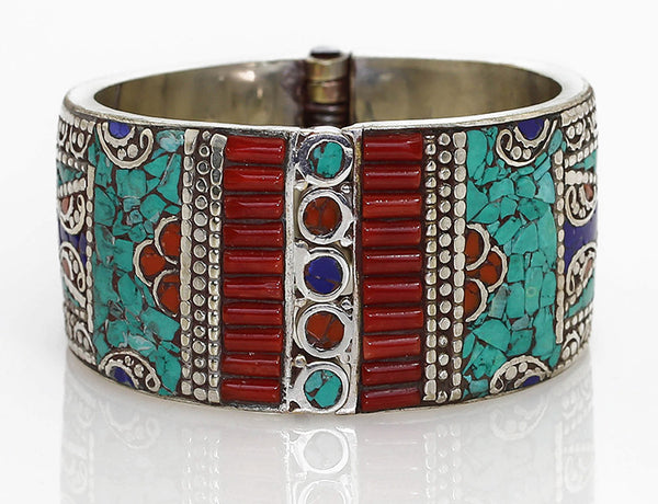 Spring Clasp Silver Tibetan Cuff Bracelet Front View
