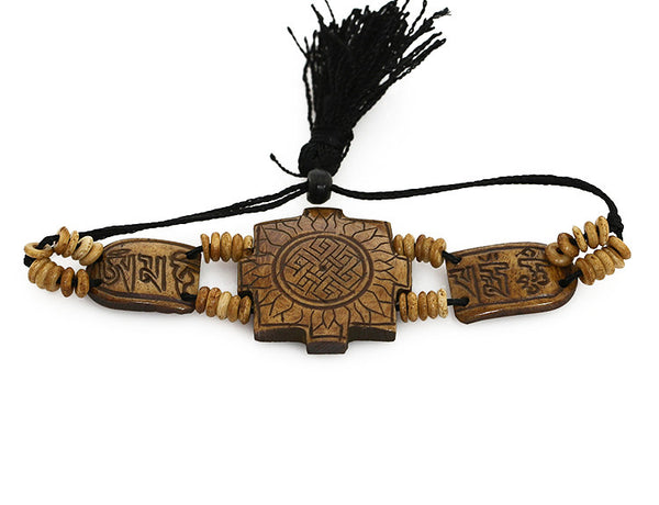 Tibetan Buddhist Bracelet Carved Sun and Mantra Top View