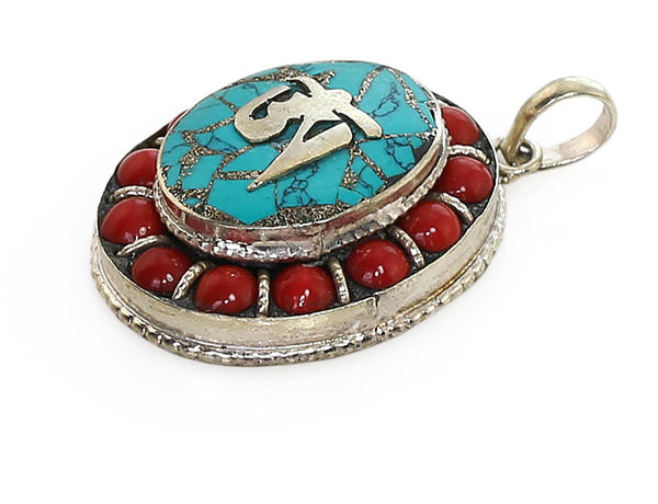 Tibetan Buddhist Pendant Beaded Coral Oval Design Side View
