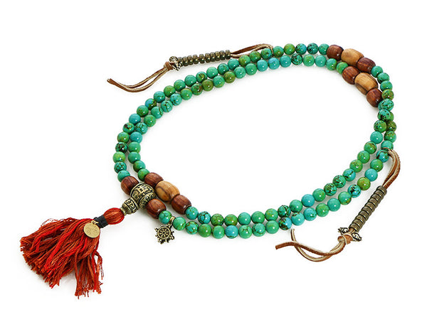TIbetan Mala Beads with Turquoise and Olivewood Top View