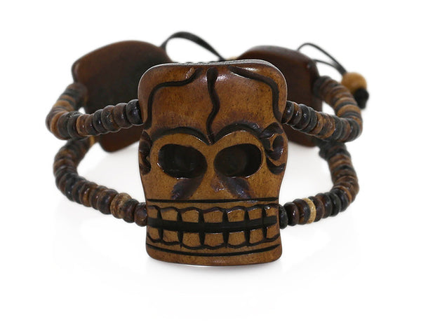 Tibetan Bracelet with Large Carved Skull Bead