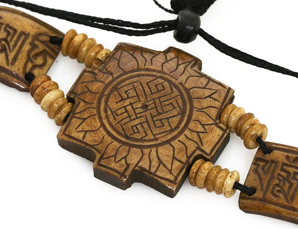 Tibetan Buddhist Bracelet with Carved Sun and Mantra