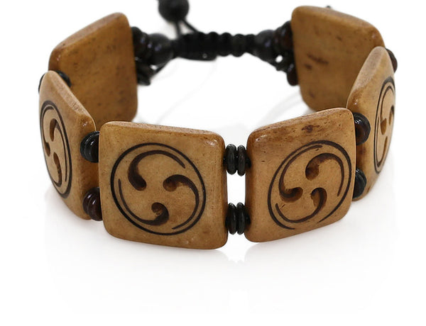 Tibetan Buddhist Bracelet with Carved Wheel of Joy Symbol