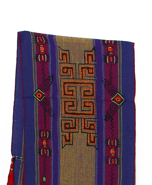 Tibetan Buddhist Cotton Scarf Dark Yellow Purple and Indigo Middle Section