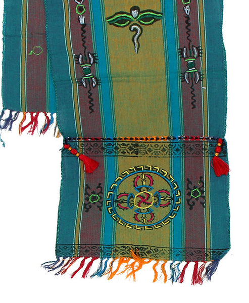 Tibetan Buddhist Cotton Scarf Green Gray and Teal Bottom Section