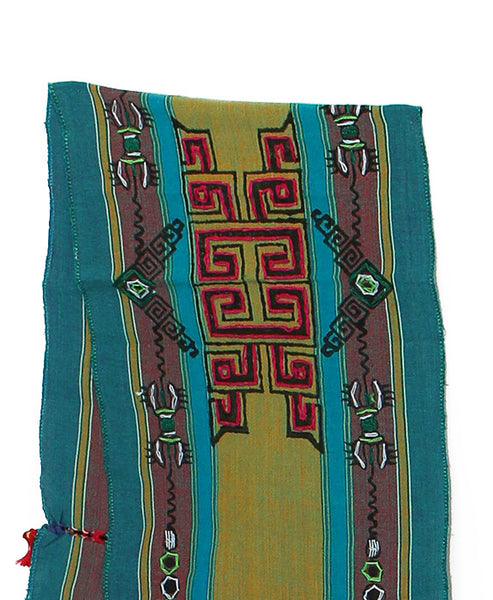 Tibetan Buddhist Cotton Scarf Green Gray and Teal Middle Section