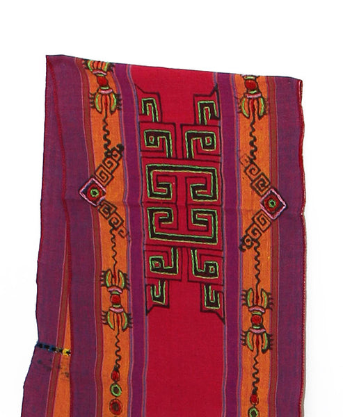 Tibetan Buddhist Cotton Scarf Hot Pink Orange and Purple Middle Section