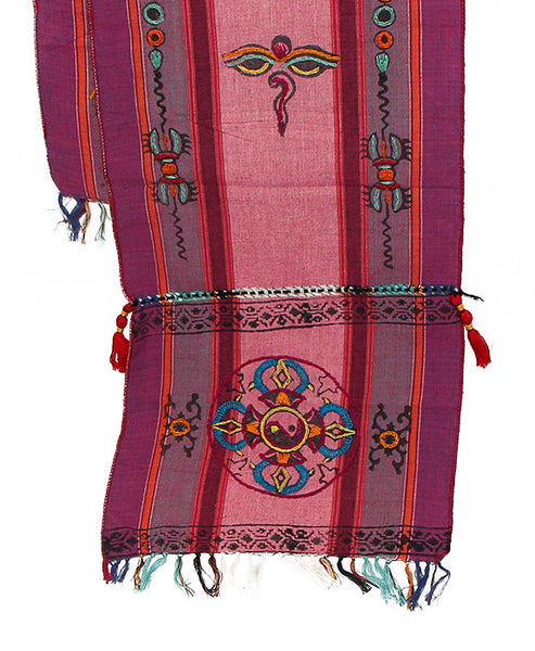 Tibetan Buddhist Cotton Scarf Pink Purple and Gray Bottom