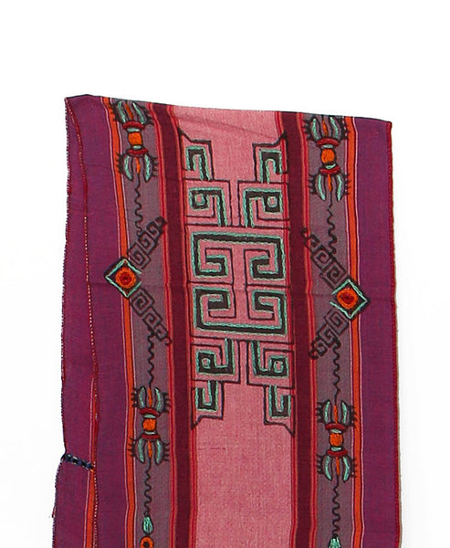 Tibetan Buddhist Cotton Scarf Pink Purple and Gray Middle Section