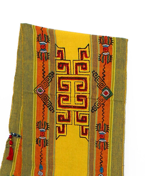 Tibetan Buddhist Cotton Scarf Yellow Orange and Khaki Middle Section