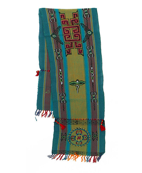 Tibetan Buddhist Cotton Scarf in Green Gray and Teal
