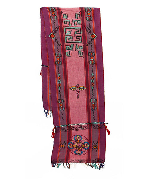 Tibetan Buddhist Cotton Scarf in Pink Purple and Gray