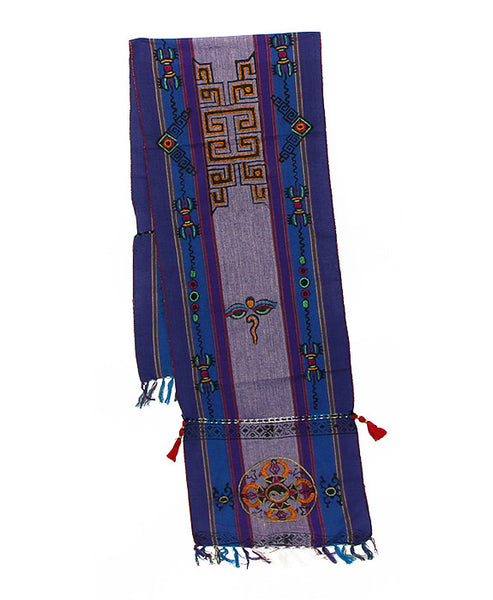 Tibetan Buddhist Cotton Scarf in Purple Blue and Indigo