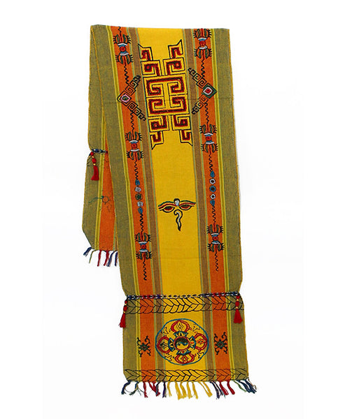 Tibetan Buddhist Cotton Scarf in Yellow Orange and Khaki