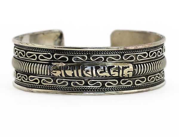 Tibetan Buddhist Cuff Bracelet Silver Mantra and Scrollwork Close Up