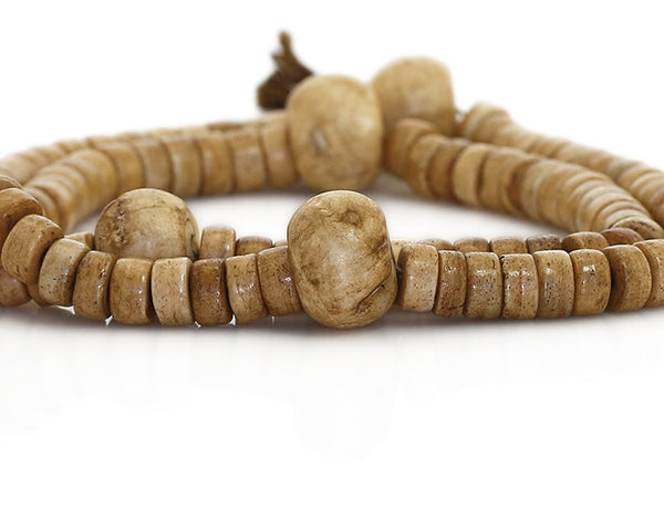 Tibetan Buddhist Mala Beads Antiqued Bone Close Up