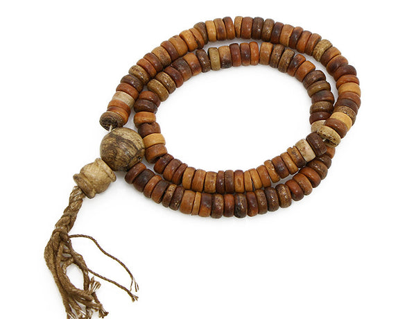 Tibetan Buddhist Mala Beads Antiqued Bone and Shell Top View
