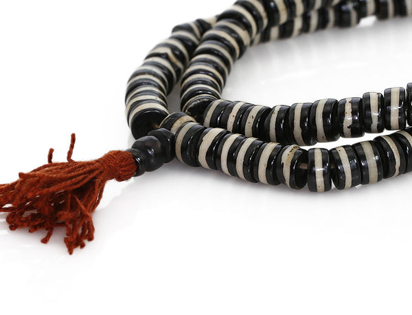 Tibetan Buddhist Mala Beads Featuring Bone Dzi Beads