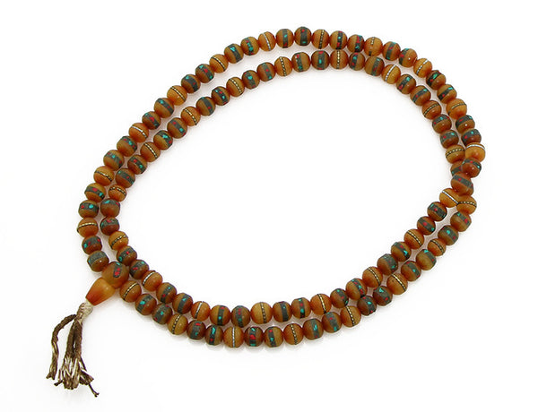 Tibetan Buddhist Mala Beads Inlaid Amber Top View