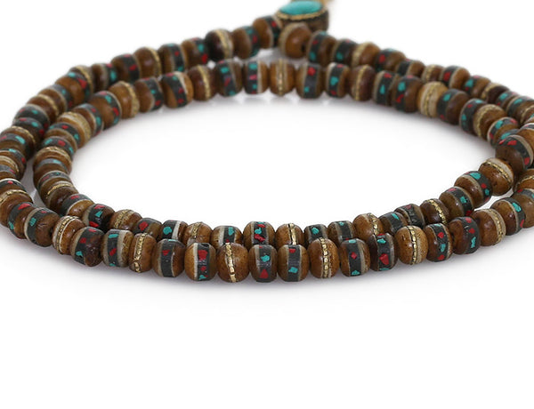 Tibetan Buddhist Mala Beads Inlaid Brown Yak Bone Close Up