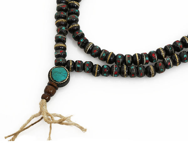 Tibetan Buddhist Mala Beads Turquoise Inlaid Black Bone Guru Bead