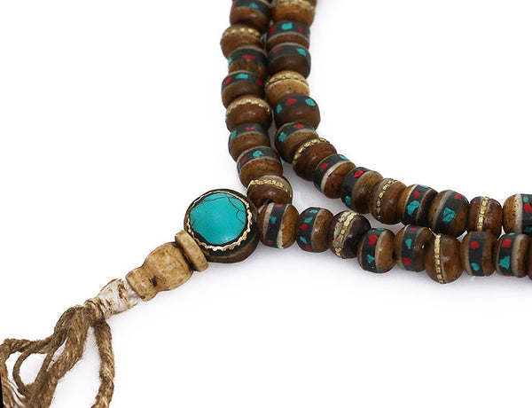 Tibetan Buddhist Mala Beads Turquoise Inlaid Brown Bone Guru Bead