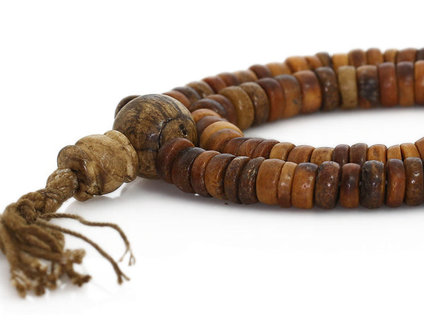 Tibetan Buddhist Mala Beads featuring Antiqued Bone and Shell