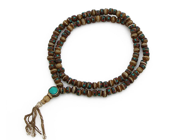 Tibetan Buddhist Mala Beads featuring Gemstone Inlaid Brown Yak Bone