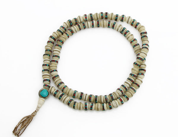 Tibetan Buddhist Mala Beads featuring Inliad White Bone