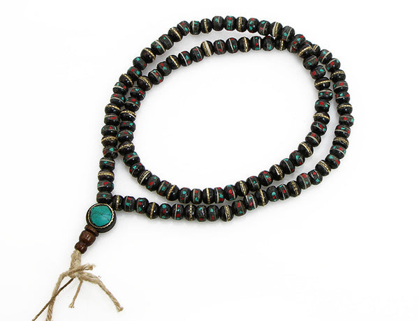 Tibetan Buddhist Mala Beads with Inlaid Black Bown