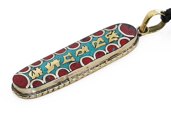 Tibetan Buddhist Pendant Gemstone Inlaid Vertical Mantra Side View