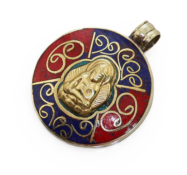 Tibetan Buddhist Pendant wiith Lapis Coral and Brass Buddha