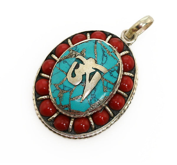Tibetan Buddhist Pendant with Bead Coral Oval Design