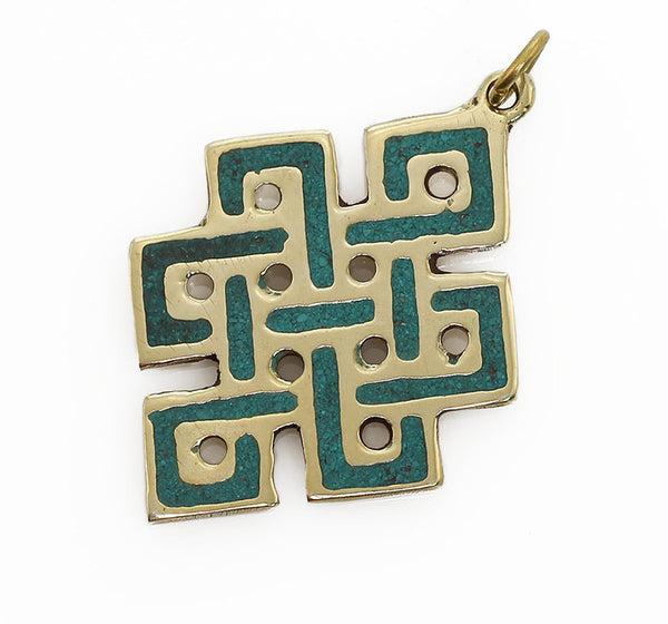 Tibetan Buddhist Pendant with Brass and Turquoise Endless Knot Design