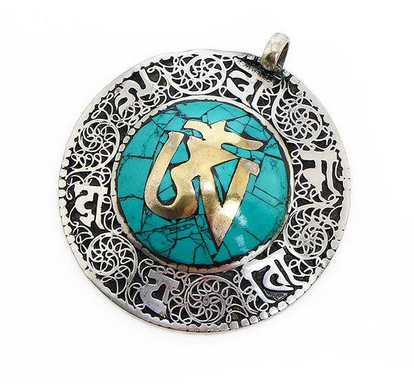 Tibetan Buddhist Pendant with Dome Shaped Turquoise and Brass Om Symbol