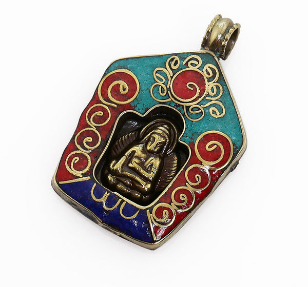 Tibetan Buddhist Pendant with Gemstone Inlaid Buddha Stupa Design
