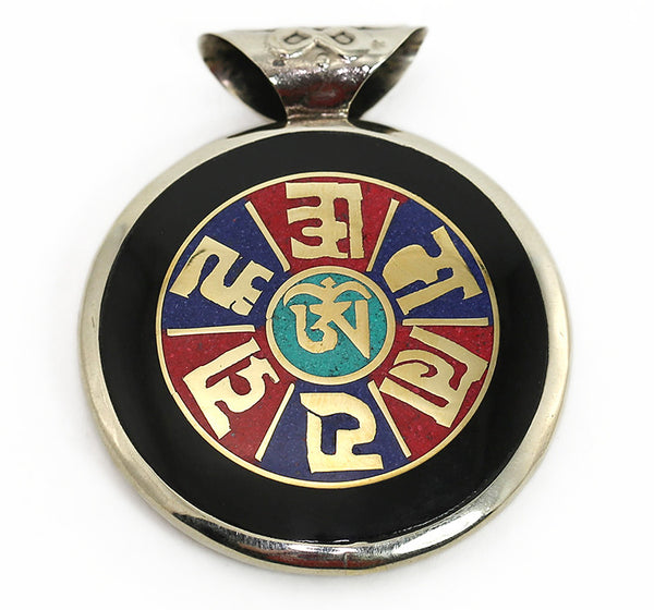 Tibetan Buddhist Pendant with Gemstone Mantra
