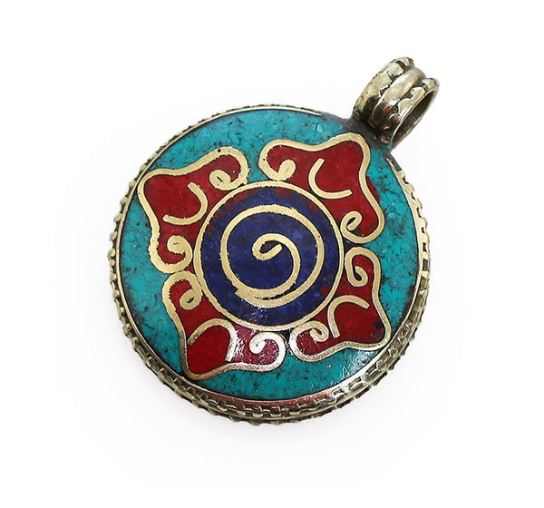 Tibetan Buddhist Pendant with Powdered Gemstone Dorje Design