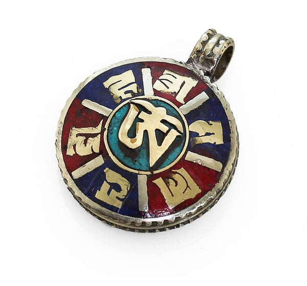 Tibetan Buddhist Pendant with Powdered Gemstone Inlaid Brass Mantra