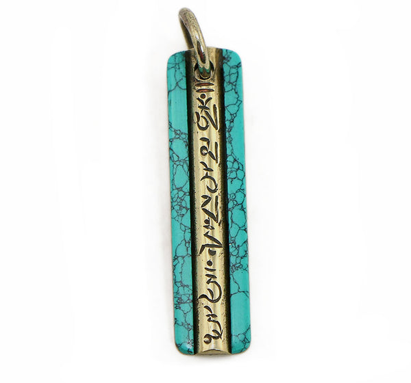Tibetan Buddhist Pendant with Vertical Brass Mantra