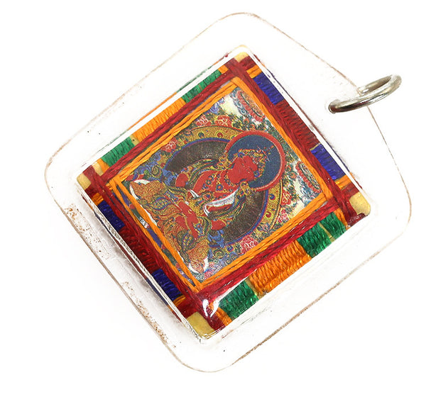 Tibetan Buddhist Prayer Pendant with Amitayus Buddha Thangka