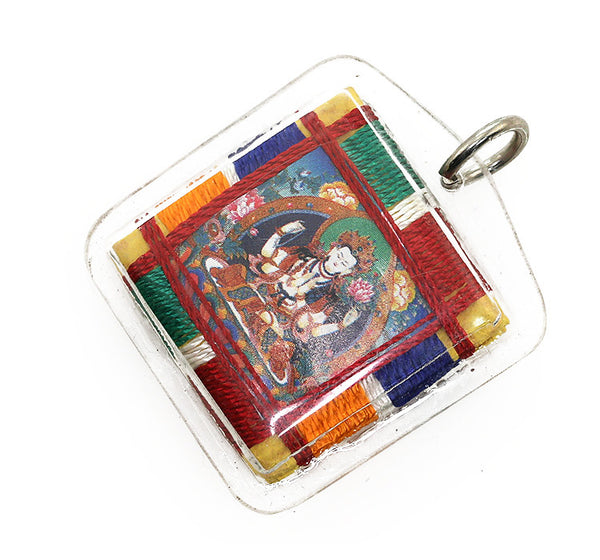 Tibetan Buddhist Prayer Pendant with Chenrezig Thangka