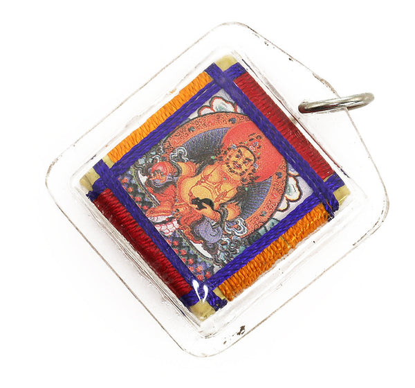 Tibetan Buddhist Prayer Pendant with Jambala Thangka
