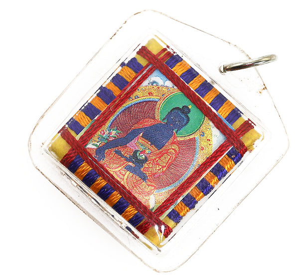 Tibetan Buddhist Prayer Pendant with Medicine Buddha Thangka