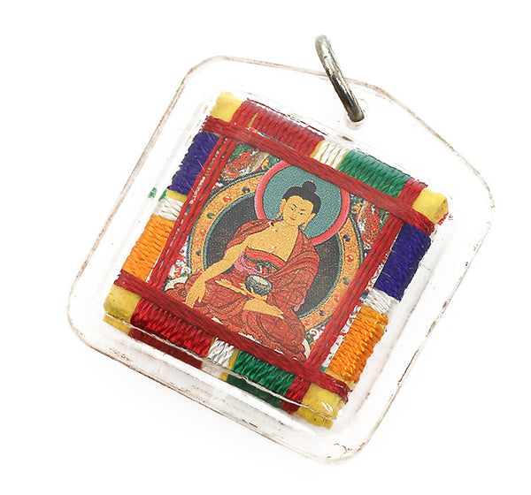 Tibetan Buddhist Prayer Pendant with Shakyumuni Buddha Thangka