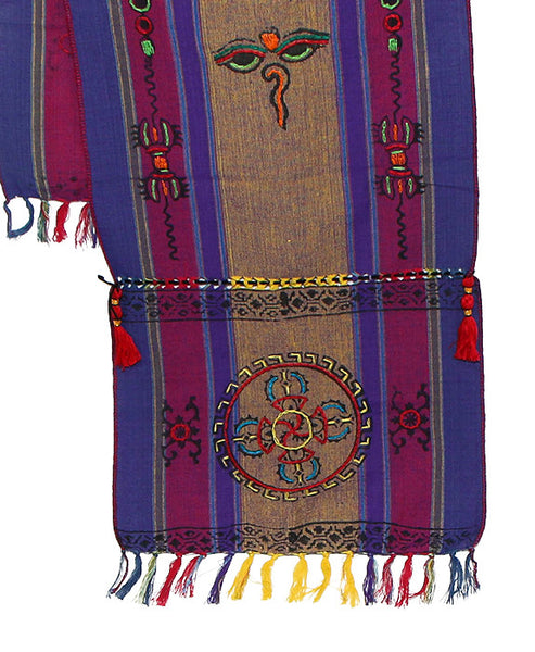 Tibetan Buddhist Scarf Dark Yellow Purple and Indigo Bottom Section